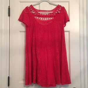 Red Eyelet Free People Dress